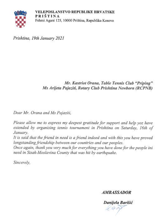 Ambasadorja kroate në Kosovë falenderon Priping dhe RCPNB