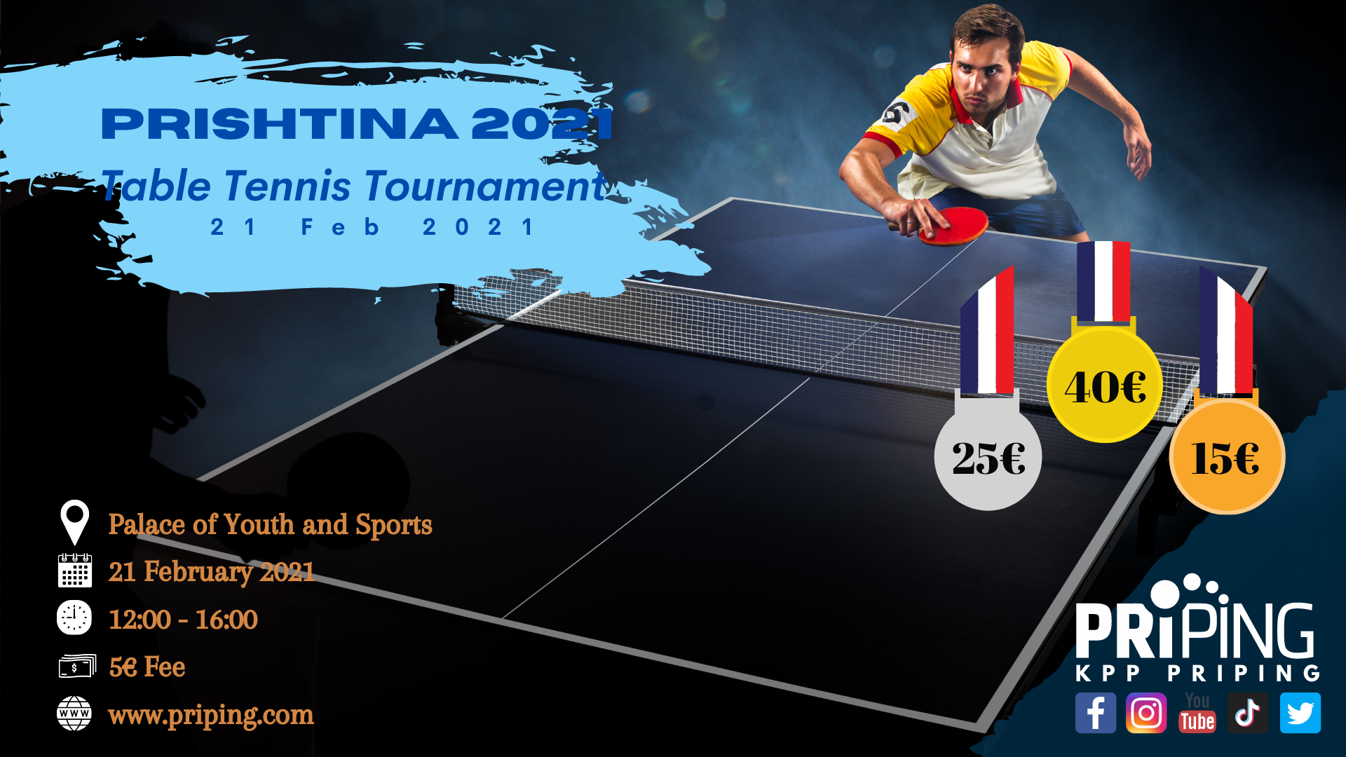 "Priping organizon ""Prishtina 2021 Table Tennis Tournament"""